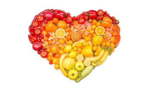 Produce arranged in a heart shape
