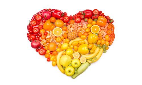 Produce arranged in a heart shape