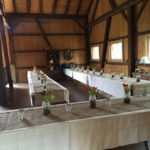 wedding setup in barn