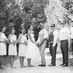 Wedding party posing