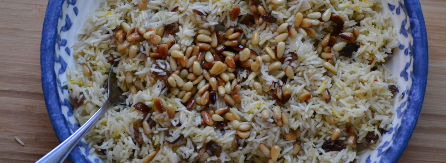 saffron rice with pine nuts