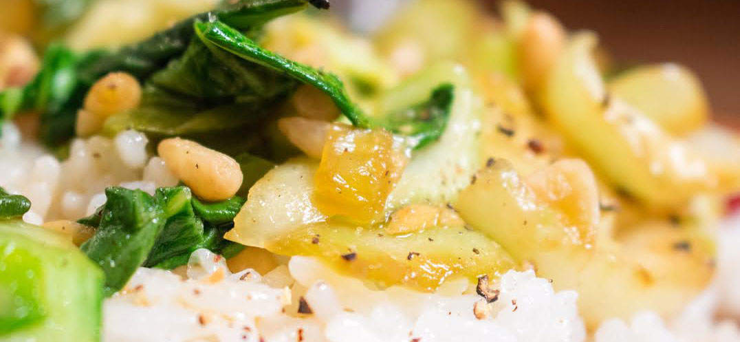 ginger bok choy with rice
