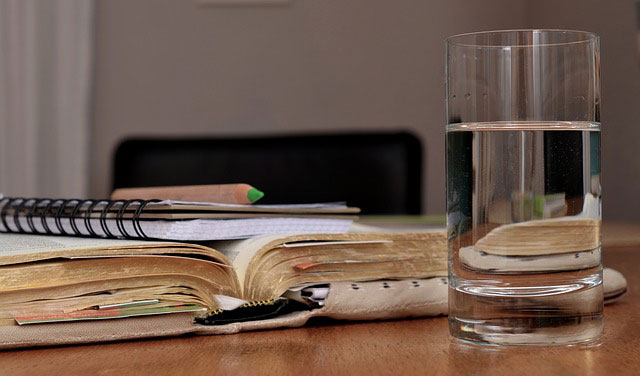 books and water glass