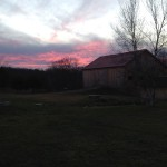 sunset over barn