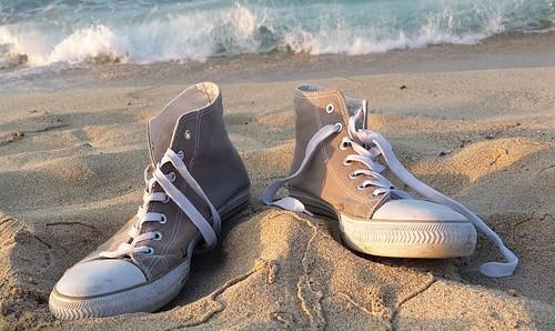 sneakers on beach