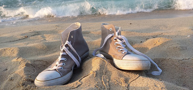 sneakers on beach