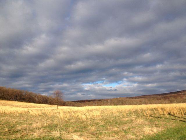 cloudy sky over farm